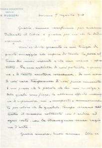 lettera di Ruggero Ruggeri a Pirandello, da Torino, il 7 Agosto 1918